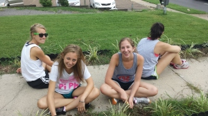 The Fellows do some Weeding at the Dorothy Day House