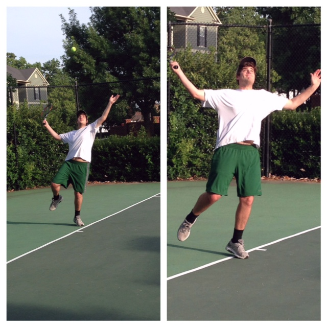 Alex in the midst of an intense tennis match at the South Bluff Courts