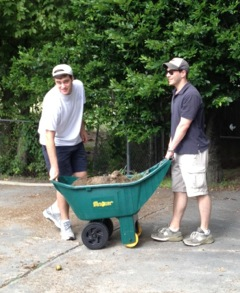 Jeff and Alex Transport some Gravel at the Dorothy Day House