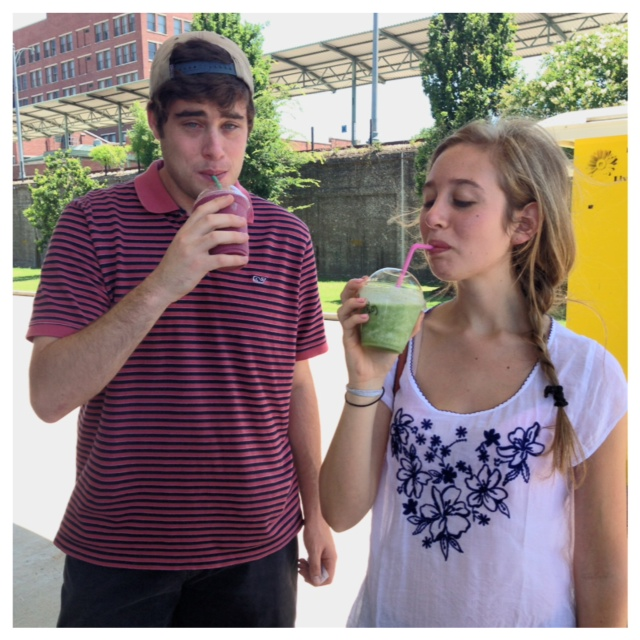 Caroline and Alex enjoy wholesome smoothies at the Farmer's Market