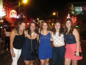 Alana, Rachel, Michelle, Michele, and Alyssa on Beale Street